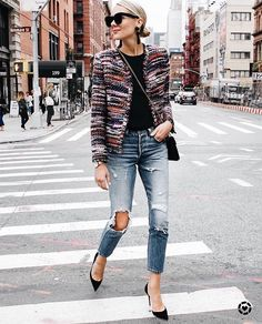 Ankle-length distressed denim, black tee, colorful boxy blazer, pointed toes