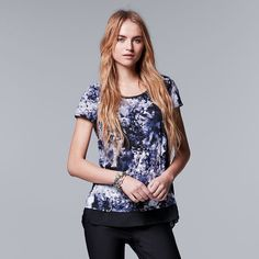 Women's Simply Vera Vera Wang Crinkle Tee, Size: Medium, Drk Purple