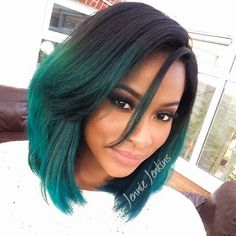 BeautyByJJ Jennie Jenkins Flawless Makeup Hair Hairstyle On Fleek Black And Teal Blue Green Mermaid Ombre Dip Dye Kylie Jenner Inspired Graduated Bob Side Parting Part Beautiful Black Women Beauty African American British Makeup Artist Youtube Guru Youtuber Successful Business Pretty Hot Sexy