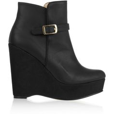 Stella McCartney Faux leather and faux suede wedge boots ($427) ❤ liked on Polyvore