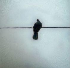 """Saatchi Online Artist: Eugenie Marais; Oil, Painting """"Bird on a wire"""""""