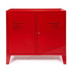Commode 2 portes rouge en métal Rouge - Lofter - Les buffets - Buffets et vaisseliers - Tous les meubles - Décoration d'intérieur - Alinéa