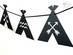 Teepee Tent Garland in Black and White. Baby shower or birthday party decorations by MyPaperPlanet