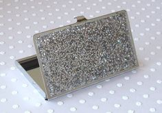 Silver Glitter Business Card Holder  Sparkly by makingtimetc