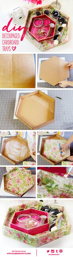 Diy Box Cardboard Organizers Craft Rooms Ideas For 2019 Cardboard Furniture, Cardboard Crafts, Cardboard Boxes, Upcycled Crafts, Diy Jewellery Box Cardboard, Diy Arts And Crafts, Fun Crafts, Diy Karton, Cardboard Organizer