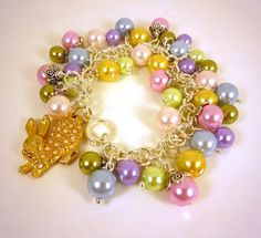 Pastel Pearl Easter Bracelet with Bunny Charm