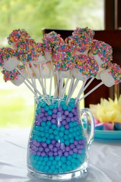 A Little Girl's Tea Party Birthday marshmallow pops dipped in white chocolate and sprinkles Girls Tea Party, Tea Party Birthday, Easter Party, Birthday Games, Birthday Ideas, 8th Birthday, Tea Party For Kids, Candy Land Birthday Party Ideas, Tea Party Games