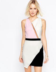 Image 1 ofDaisy Street Colourblock Dress With Aysemmetric