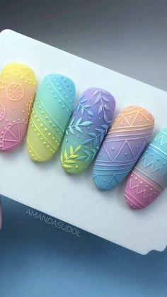 Colourful Ombré Gradient Nails with simple nailart - дизайн - Best Acrylic Nails, Acrylic Nail Designs, Nail Art Designs, Feet Nail Design, Butterfly Nail Designs, Gradient Nails, 3d Nails, Feet Nails, Luxury Nails