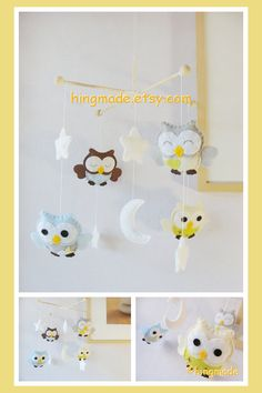 Baby Mobile - Owl Mobile - Nursery Mobile - Baby Decor - Brown Blue Gray Light Green Soft Theme