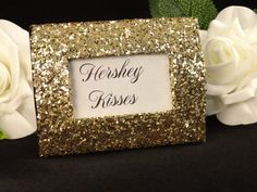 for table numbers Glitter Wedding decor Bling Wedding Gold Mini Picture Frame. Eva, y'all could totally do big chunky gold glitter on frames! Gold Wedding Theme, Wedding Candy, Bling Wedding, Glitter Wedding, Trendy Wedding, Wedding Favors, Our Wedding, Dream Wedding, Wedding Decorations