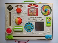 VTG 1973 Fisher Price Activity Center Busy Box Crib Toy *USED/FLAWED*