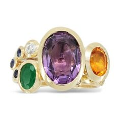Stacking Ring with Amethyst, Citrine, Diamond and Sapphire 18ct Gold