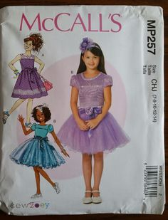 McCalls Pattern MP257 / M7112 sizes 7-14 Girls' Dresses, Belt and Purse NEW