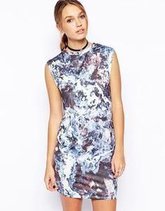 ASOS Mini Bodycon Dress in Marble Print