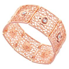 1928 Copper-Tone Filigree Crystal Studded Flower Stretch Bracelet (17 CAD) ❤ liked on Polyvore featuring jewelry, bracelets, accessories, stretch bracelet, copper bracelet, 1928 jewelry, stretch jewelry and flower bracelet