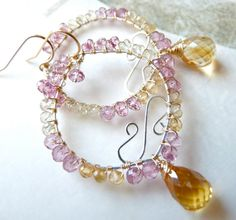 Dangle Leaf earrings Critrine and pink quartz by PingyPieJewelry, $156.00