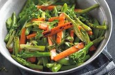 Five veg stir-fry Stir-fry carrots, asparagus, broccoli, runner beans and sugar-snap peas together for a tasty and healthy family meal