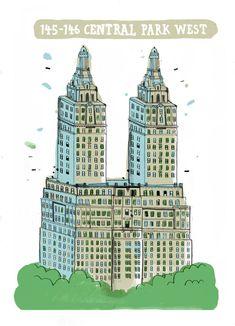 Illustration - 145-146 Central Park West,  The San Remo Building