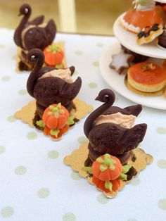 French Chocolate and Pumpkin Pastry Swan - 12th Scale French Miniature Food. $18.00, via Etsy.