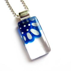 Blue and azure flower pendant  hand painted glass  by azurine, $25.00