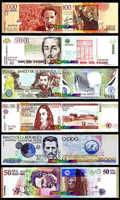 Colombia banknotes - Colombia paper money catalog and Colombian currency history Army Branches, Bank Account Balance, Money Worksheets, Puerto Rico History, Money Bank, Dramatic Play, Coins, Stamp, Monopoly