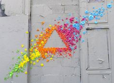 "theindustrialist: "" French artist Mademoiselle Maurice's unique rainbow origami street art. In these urban installations, Miss Maurice creates fantastic collections of geometric origami shapes and. Origami Arco Iris, Rainbow Origami, Origami Art, Origami Shapes, Geometric Origami, Heart Origami, Rainbow Art, Japanese Origami, Japanese Art"