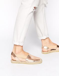 Image 1 of Selected Evita Metallic Rose Gold Leather Espadrille Flat Sandals