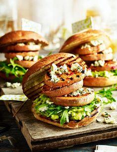 Triple sweet potato and Stilton 'burgers' with rocket and avocado mash