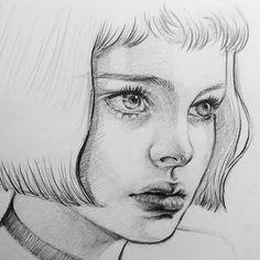 ✰ léon: the professional Portrait Au Crayon, Pencil Portrait, Portrait Art, Pencil Art Drawings, Art Drawings Sketches, Human Drawing, Arte Sketchbook, Portrait Sketches, Sketch Painting