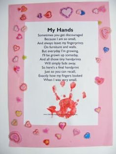 Fingerprint Poems From Kids For Mothers Day Handprint Poem Crafts For Kids Easy Craft Ideas For Every Daycare Crafts, Baby Crafts, Toddler Crafts, Preschool Crafts, Kids Crafts, Fathers Day Crafts, Valentine Day Crafts, Holiday Crafts, Mothers Day Crafts For Kids