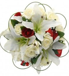 Mixed Ivory Classic & Burgundy Silk Rose & Lily Crystal Bouquet