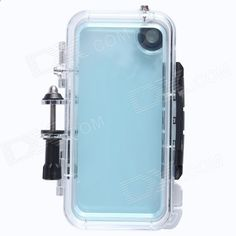 Waterproof PC Sports Camera Housing Case w/ Built-in Wide-angle Glass Lens for IPHONE 5 / 5S