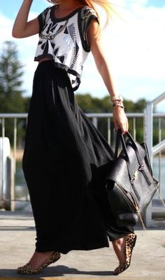 Love the maxi skirt effect with crop tops - beautiful and summery, maybe wintery as well? - crop top