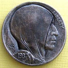 ALAN CHERNOMASHENTSEV HOBO NICKEL - SUSPICIOUS PERSONA - 1937 BUFFALO NICKEL Hobo Nickel, Coin Art, Old Money, Effigy, Geo, Persona, Buffalo, Arrow, Cactus