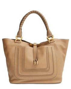 All of the stylish essentials are going in this luxe Chloé leather tote.