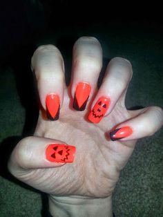 Halloween Pumpkin Nails Cool