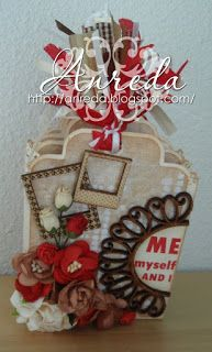 Mini-mini-mini scrapalbum :) with tags and passport photos.