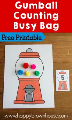 Gumball Counting Busy Bag with Free Printable