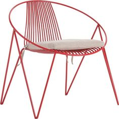 Red Wire Chair with Cushion