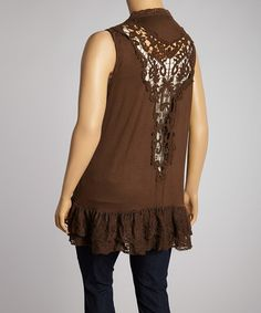 Another great find on #zulily! Chocolate Crochet Open Vest - Women & Plus #zulilyfinds