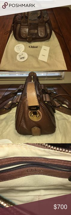 """Chloe Chocolate Brown Calfskin Leather Satchel Genuine calfskin leather satchel with brass hardware in new condition, hardly ever worn and shows no signs of wear. Purchased from Neiman Marcus and comes with original hangtag, care card, tissue stuffing, dust bag and key. Style #04HSA25-4H484. Measurements:  13.5""""L x 7""""H (not including handles) x 6""""D. Leather handles, 7"""" drop.  Top zip with padlock closure. Brass key inside hanging leather strap. Inside:  Cotton lining and zip pocket. Chloe…"""