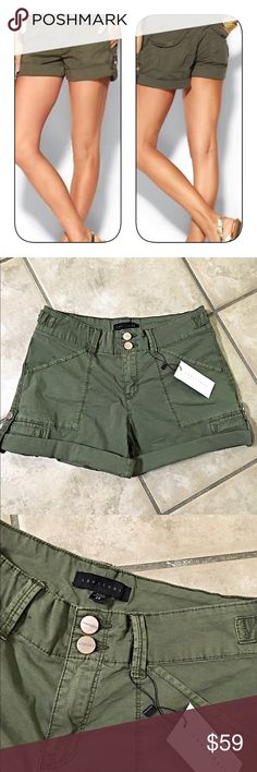 NWT Sanctuary Habitat shorts in olive! Great shorts with lots of detail by Sanctuary- 2 button zip up- front and back pockets - rolled toggle snap sides with logo on all buttons- excellence in quality and comfort- material has stretch! Sanctuary Shorts