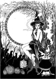 Magick Wicca Witch Witchcraft: - Pinned by The Mystic's Emporium on Etsy Pagan Witch, Wiccan, Colouring Pages, Coloring Books, Adult Coloring, Season Of The Witch, Witch Art, Halloween Art, Book Of Shadows