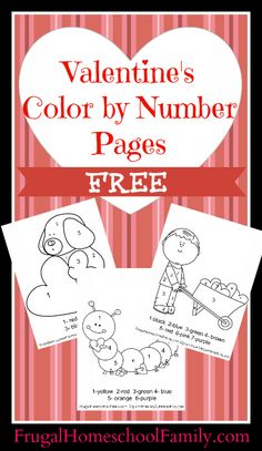 FREE Valentine's Color by Number Pages - use in school class party as an activity