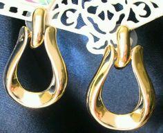 """Vtg Anne Klein Earrings tear drop door knocker signed gold Tone Hoop pierced 1½"""" #AnneKlein #Hoop Anne Klein, Door Knockers, Gold Earrings, Hoop, Vintage Jewelry, Best Deals, Fashion Show, Jewels, Women"""
