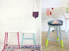 Give your old furniture a new look. Transform wooden pieces with a coat of paint – you can always paint over it again.