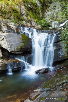 Dukes Creek Falls tumbles in a series of waterfalls near Helen in North Georgia