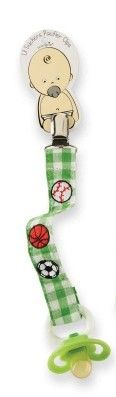 This pacifier clip for baby boys is made of green gingham fabric, and is embroidered with pictures of a baseball, a football, a basketball, and a soccer ball. Part of Mud Pie's Lil Suckers collection. $4.99