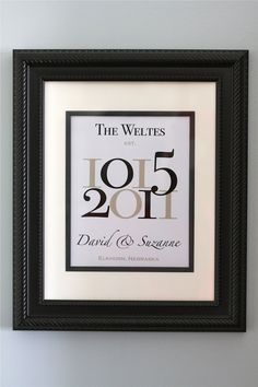 """Wedding Date Family Name Print with Wedding Location/Numbers - 8""""x10"""""""